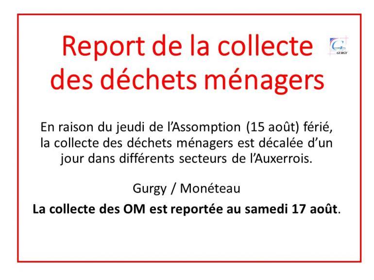 Report de la collecte des déchets ménagers