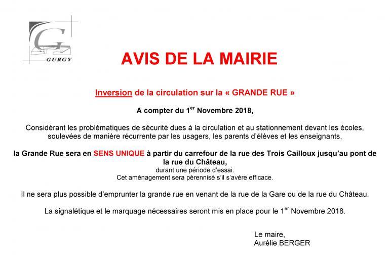 """Inversion de la circulation sur la """"GRANDE RUE"""""""