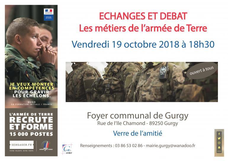 Echanges / débat sur les métiers de l'armée de Terre