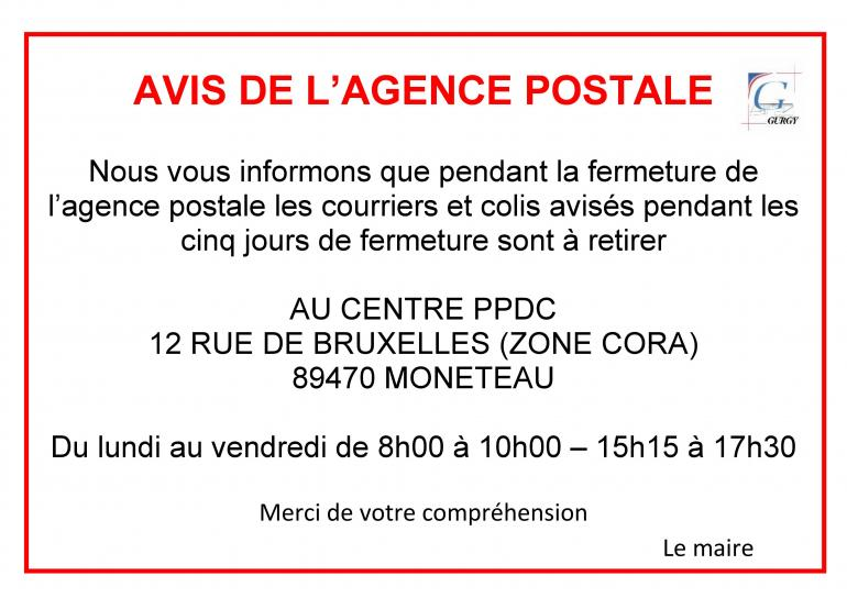 Avis de l'agence postale