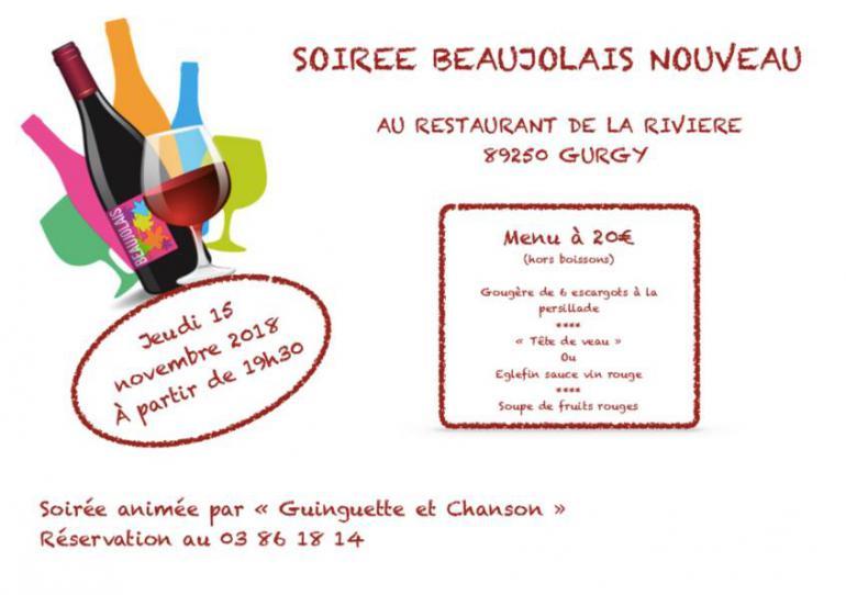 Soirée Beaujolais nouveau  - Restaurant de la Rivière