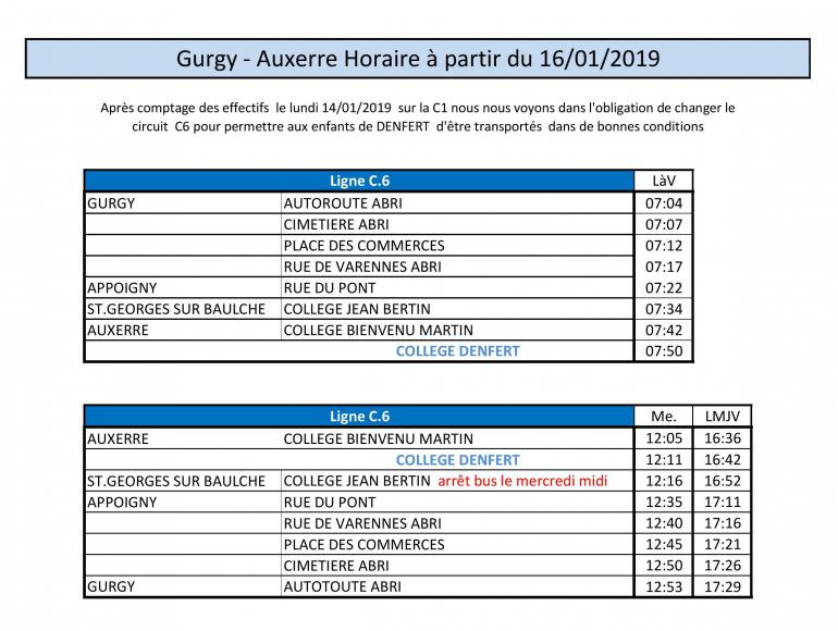 Nouveaux horaires, ligne de bus C6 - Gurgy / Auxerre