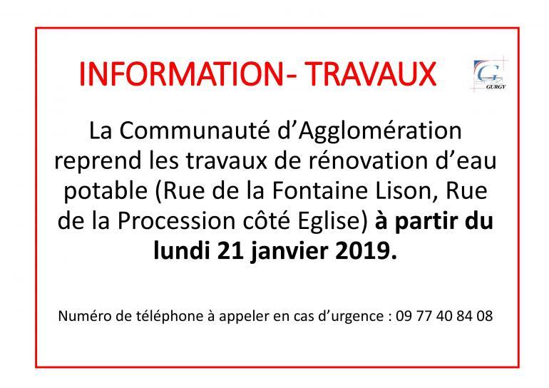Information - Travaux