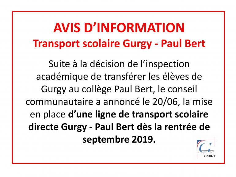 Transport scolaire Gurgy - Paul Bert