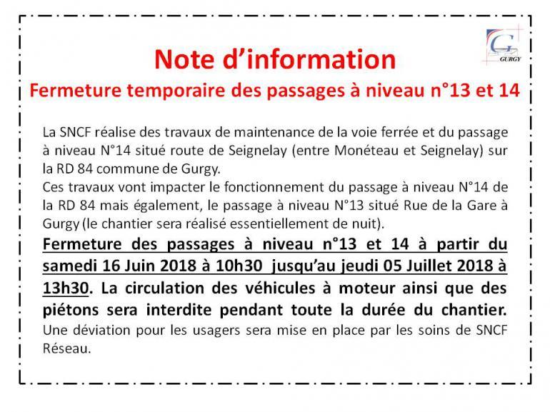 Fermeture temporaire des passages à niveaux n°13 et 14