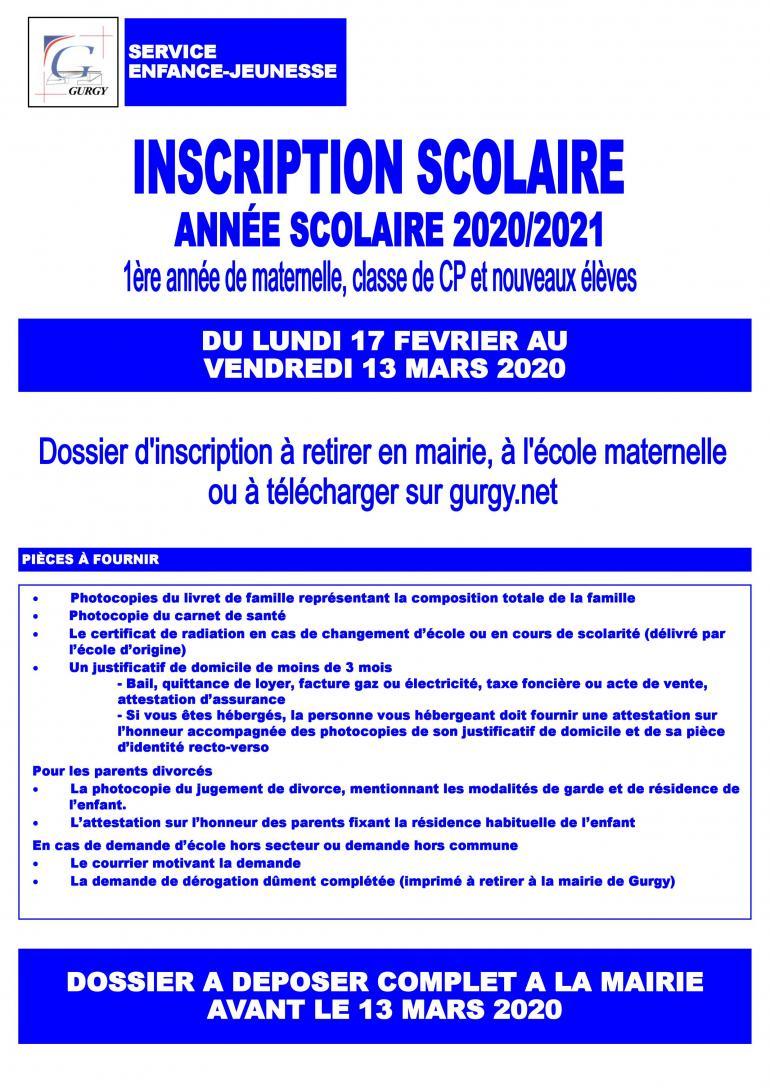 Inscription scolaire 2020/2021