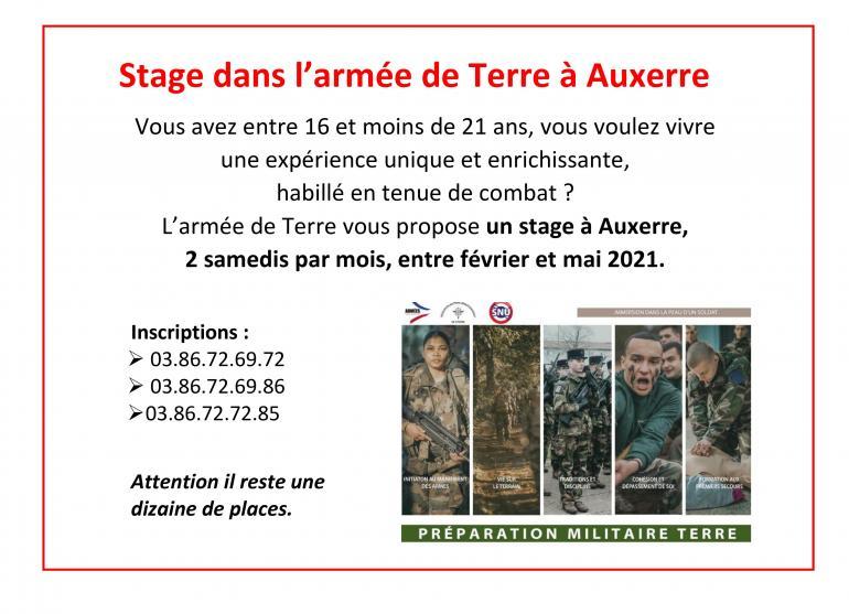 Stage dans l'armée de Terre
