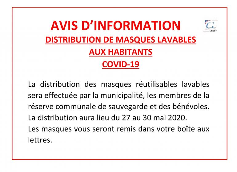Distribution de masques réutilisables - COVID-19