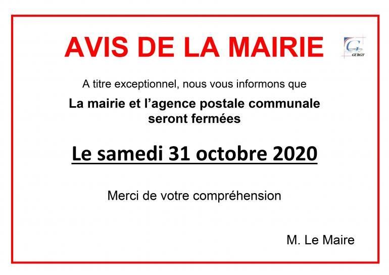 Fermeture de la mairie - 31/10/2020