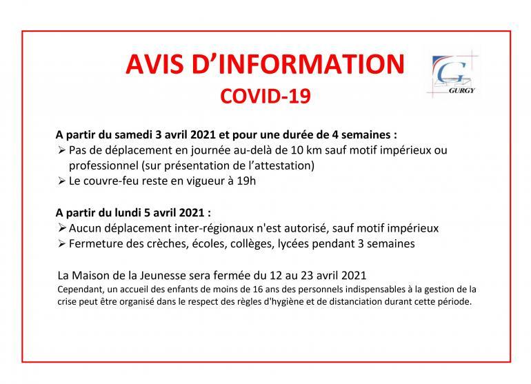 Avis d'information - covid-19