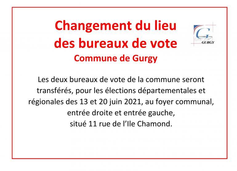 Changement du lieu des bureaux de vote