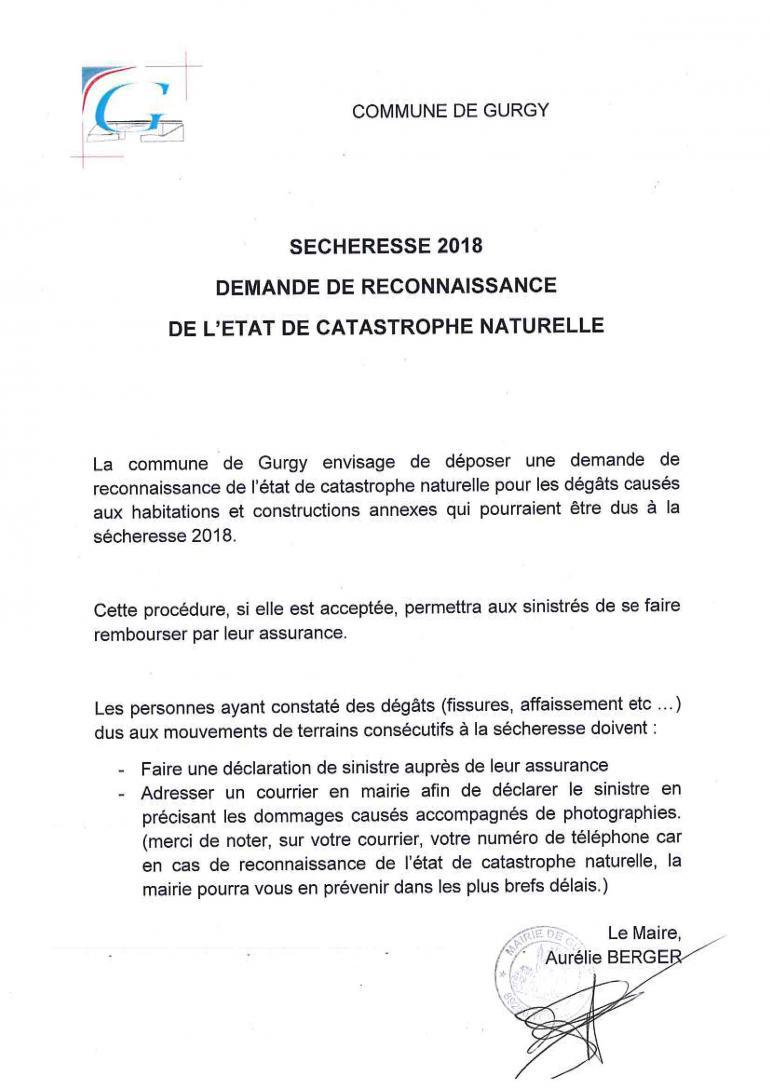 Sécheresse 2018 - demande de reconnaissance de l'état de catastrophe naturelle