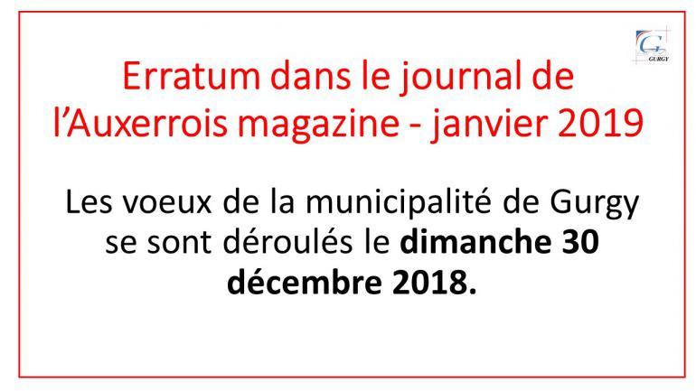 Erratum journal de l'Auxerrois magazine - janvier 2019