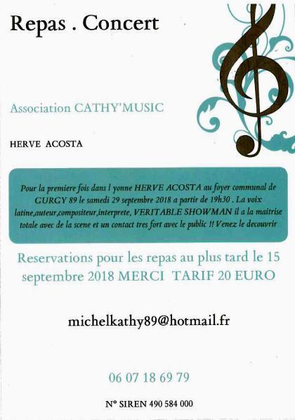 Repas Concert HERVE COSTA /// Association CATHY'MUSIC