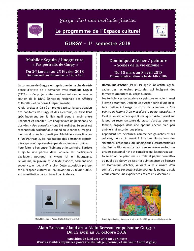 Programme culturel - 1er semestre 2018
