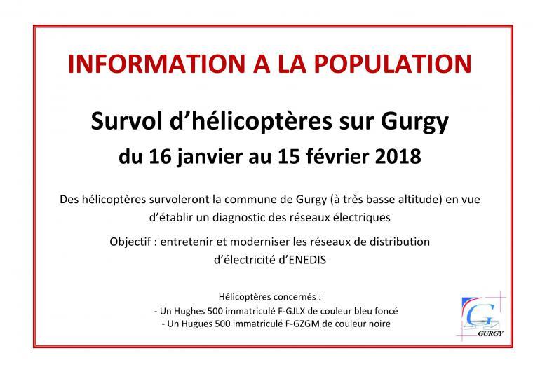 Information - Survol d'hélicoptères sur Gurgy