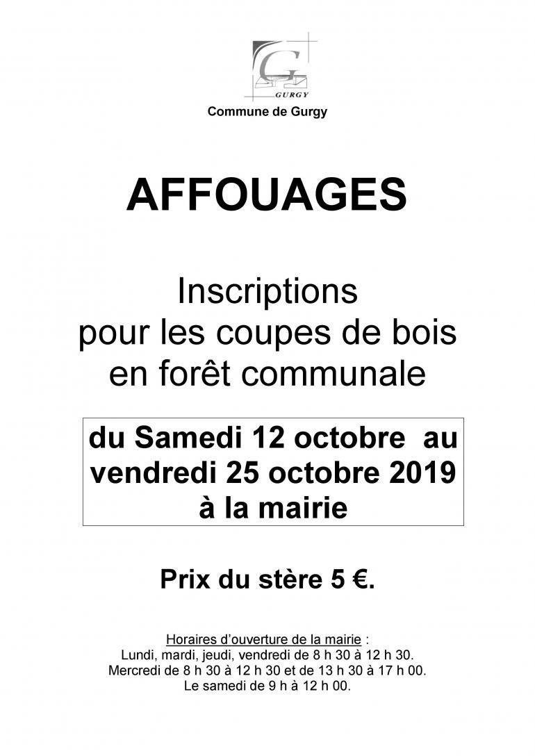 Affouages - Inscriptions